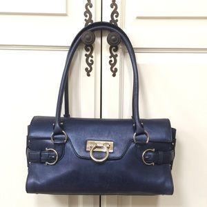 Ferragamo 'Gina' Leather Satchel in Blue